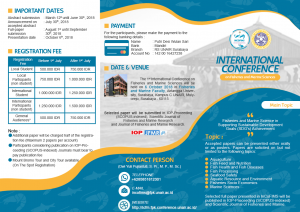 The 1st International Conference on Fisheries and Marine